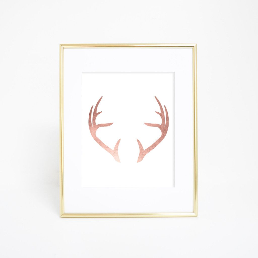 Rose Gold Wall Decor This Rose Gold Deer Antler Wall Art Print Is A Great Addition To