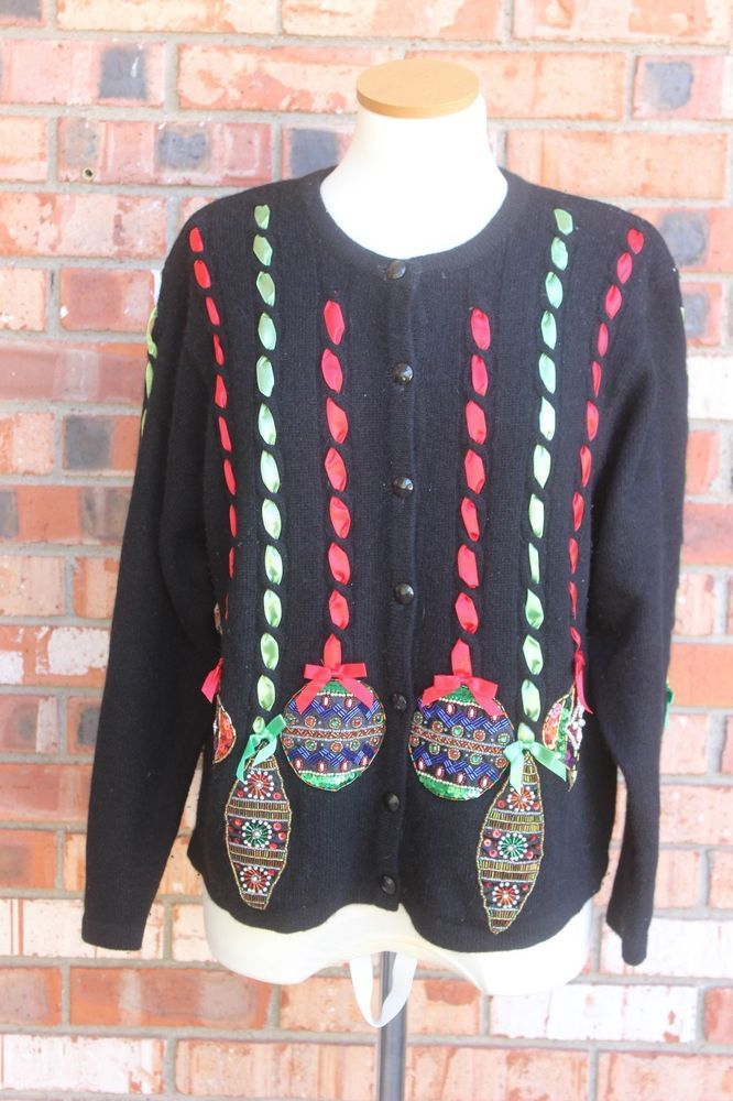design options christmas ugly sweater black cardigan ornaments lambswool angora