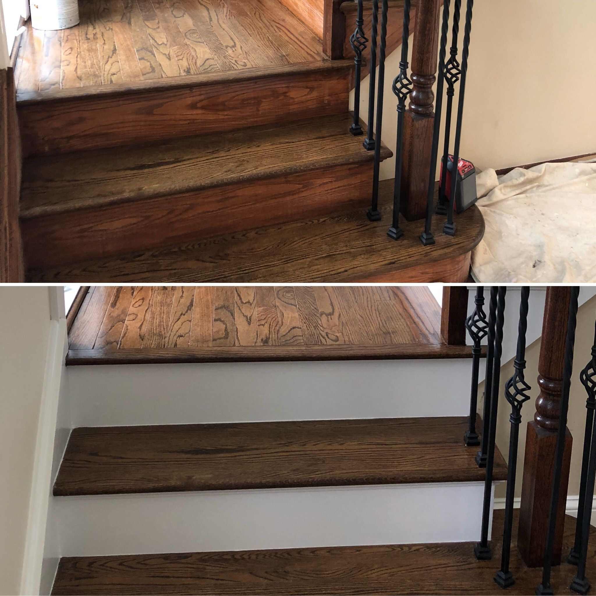 Before And After... Staircase Update! Primed With Oil