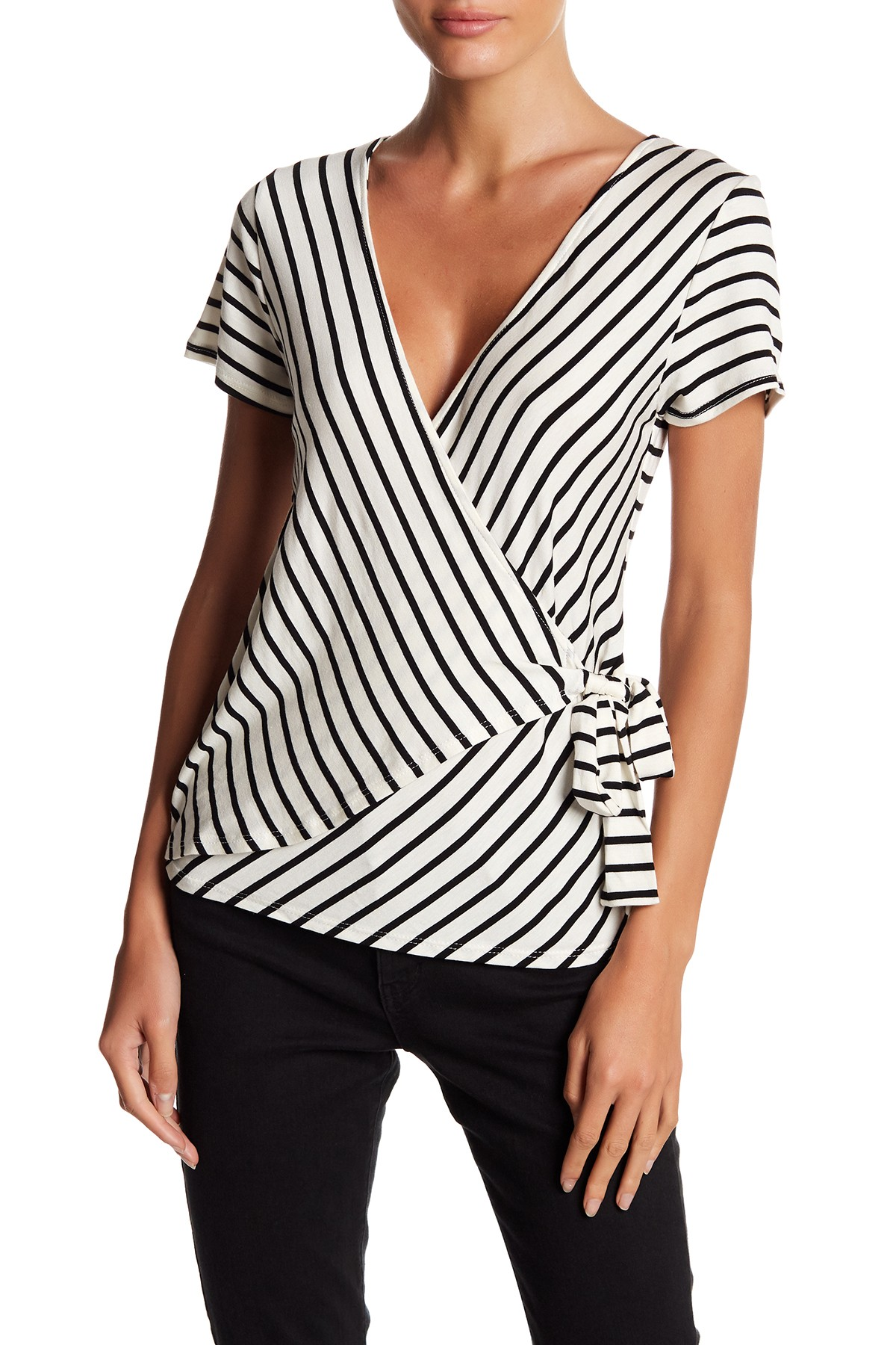 6aaed5c66b067 Short Sleeve Striped Wrap Top by Socialite on  nordstrom rack