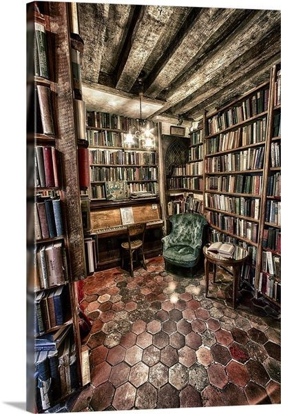 Vintage book store in Paris, France Wall Art, Canv