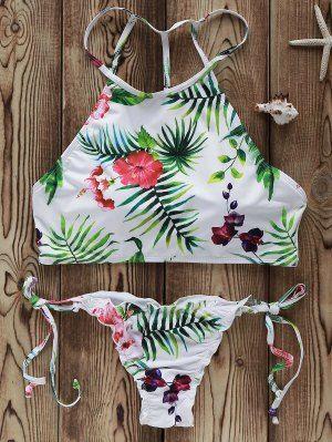 51e6e88dc498 Impresión De Las Flores De Cuello Alto Bikini Set - Blanco S ...