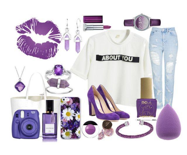 """Must Be Purple On The Brain"" by thetrendsetter13133 on Polyvore featuring Chicnova Fashion, Topshop, Jimmy Choo, ncLA, Fuji, Diana Vreeland, David Yurman, Swarovski, GUESS and Bridge Jewelry"