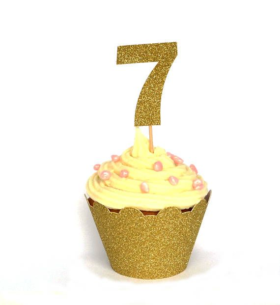 7th Birthday Cupcake Topper Number Topper Birthday Party