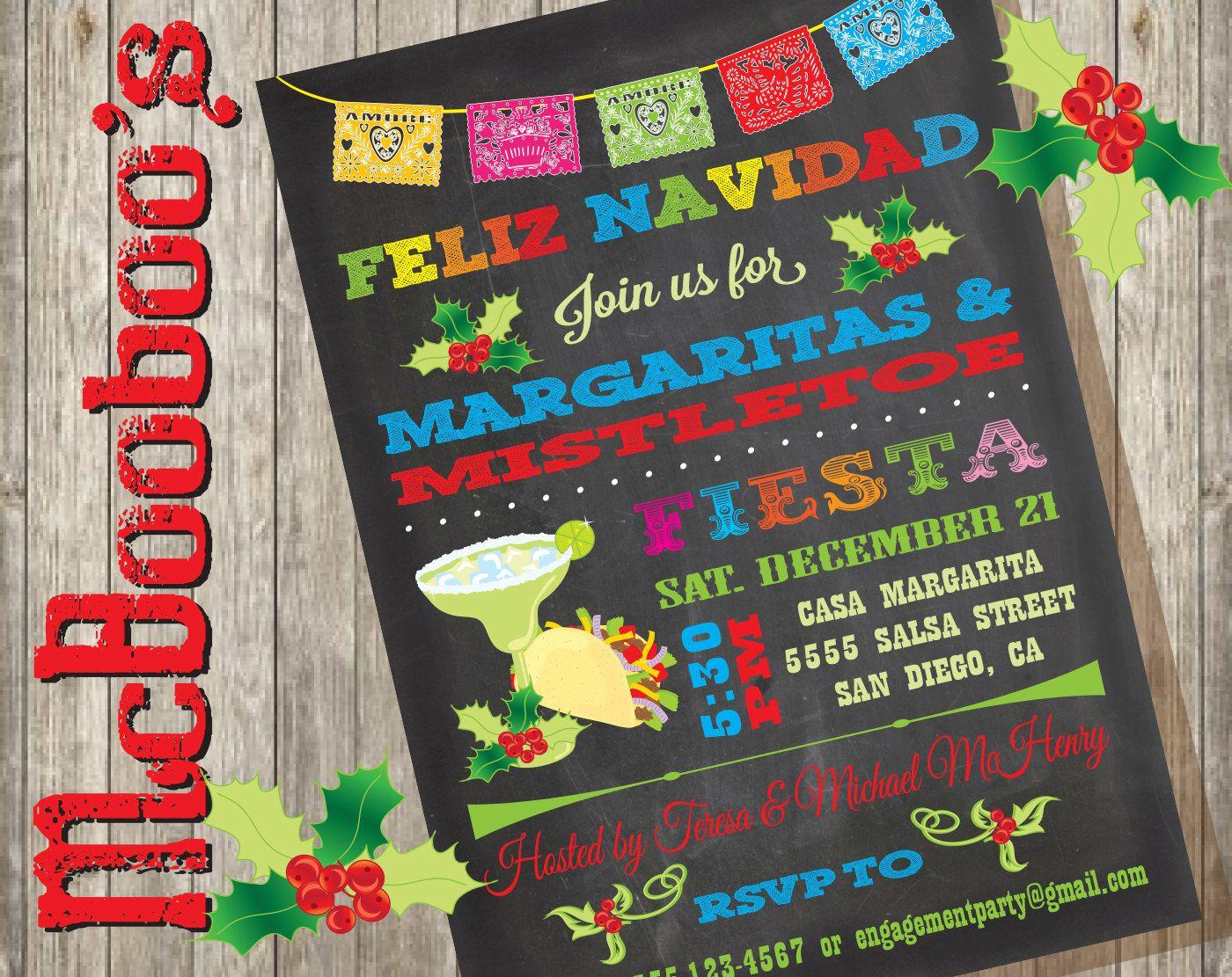 Chalkboard Feliz Navidad Christmas Mistletoe And Margaritas