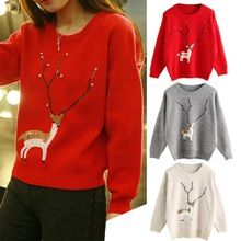 Modern Fashion Womens Christmas Cute Reindeer Pearl Pullover Knit Sweater Warm hot Jan07(China (Mainland))