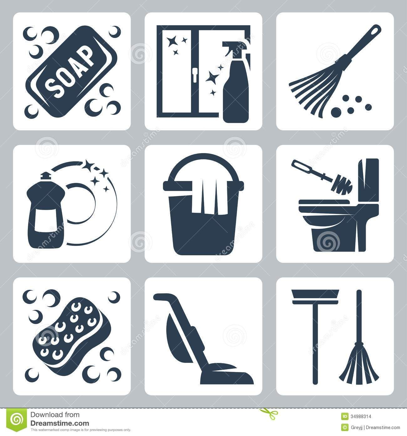 Vector Cleaning Icons Set Soap Window Cleaner Duster Dishwashing Liquid Bucket Cloth Toilet Brush Flush Toilet Cleaning Icons Window Cleaner Dishwashing Liquid