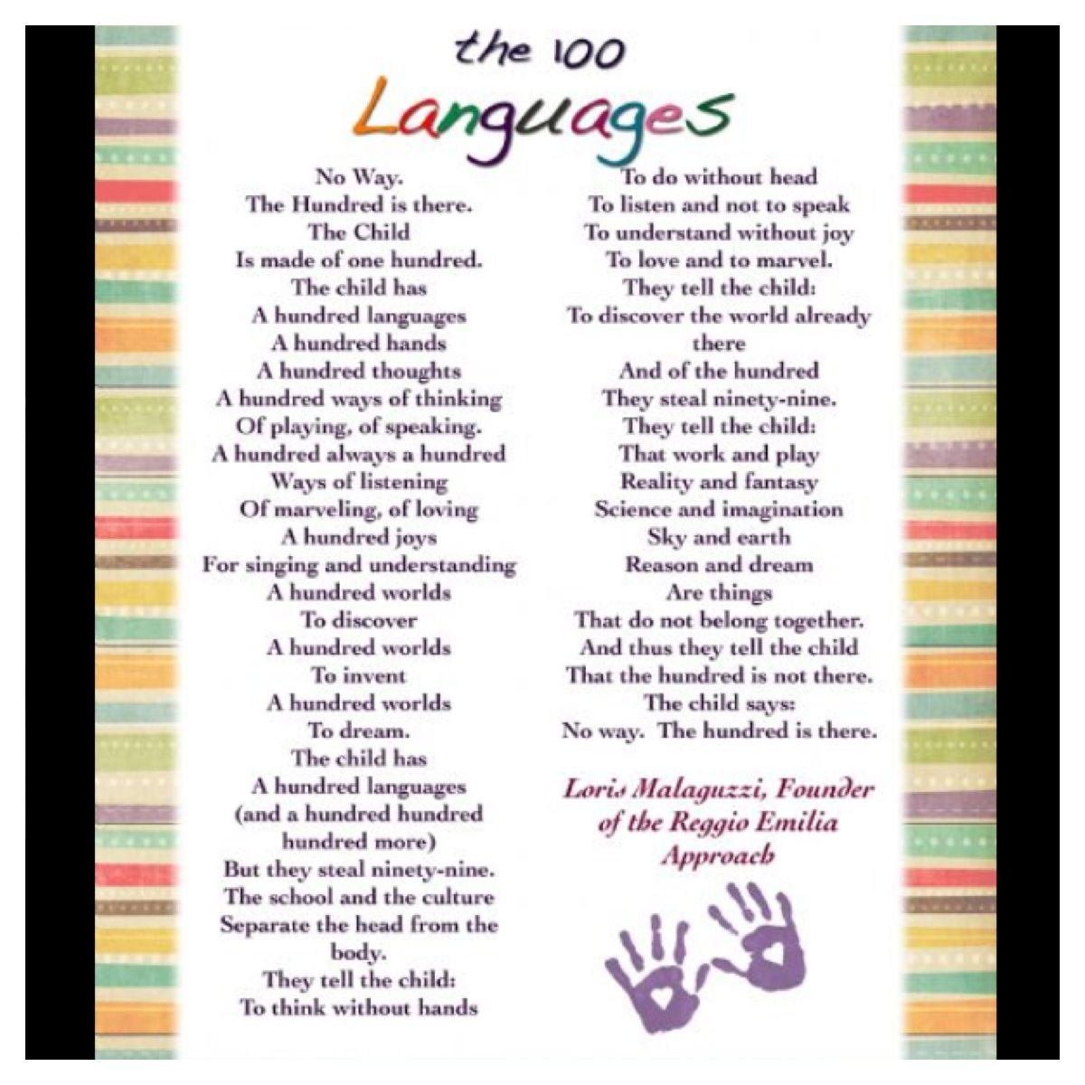 The 100 Languages of Children, Loris Malaguzzi, founder of ...