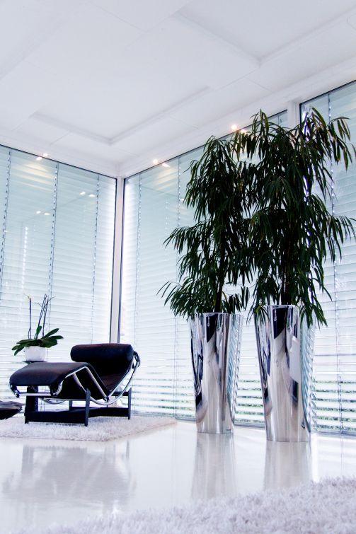 Exklusive Pflanzkübel aus Edelstahl im modernen Wohnzimmer - wohnideen wohnzimmer moderne