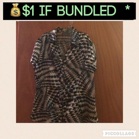 $1 if bundled️Silky top ♥️️️️ Silky top with multi colors, consists of black, white and blue slate. Buttons down the front. Very comfortable. Petite medium. Apt. 9 Tops