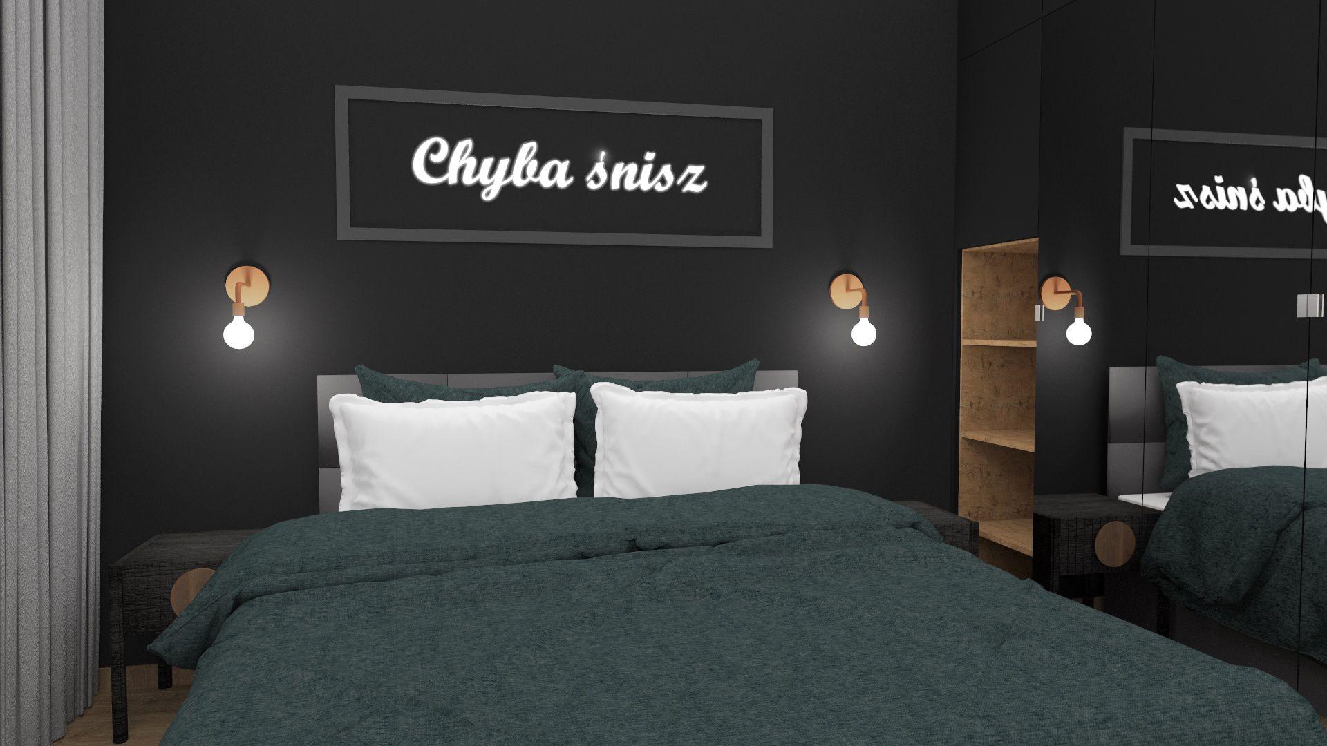 Projekt Wnętrza Mieszkania Czarna Sypialnia Z Drewnem Moje