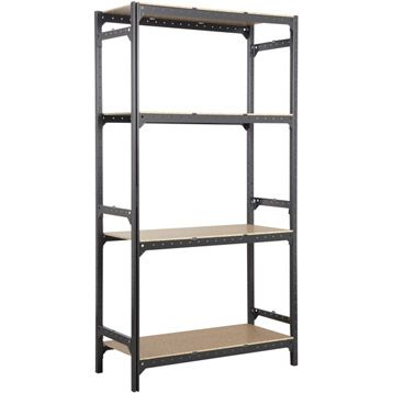 Etag re en acier poxy gris 4 tablettes spaceo hub system - Etagere modulable leroy merlin ...