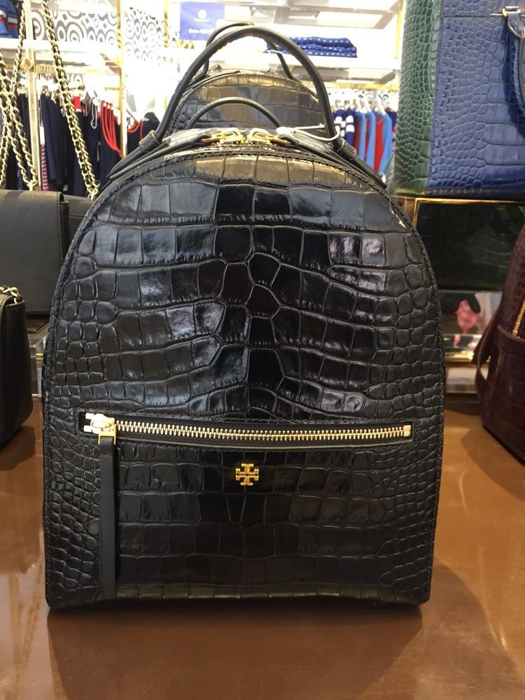 4882dd020f08 Brand New Tory Burch Crocodile Embossed Black Leather Mini Backpack Handbag   fashion  clothing  shoes  accessories  womensbagshandbags (ebay link)