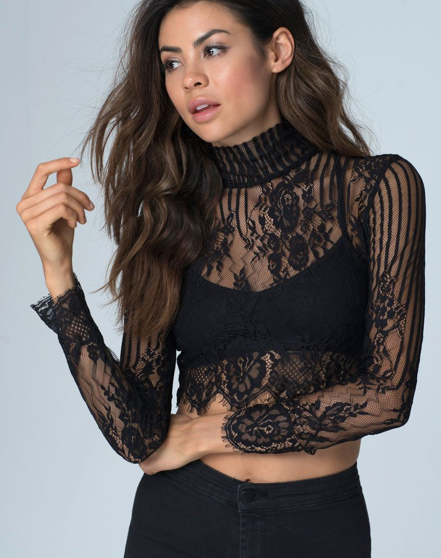 f378f3cfe5f Channel sultry gothic glam in this gorgeous sheer lace crop top. With a  high neck