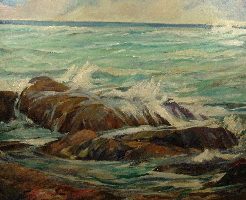 VINTAGE CALIFORNIA ART SEASCAPE LANDSCAPE OIL PAINTING  CHARLOTTE BUTLER SKINNER #Impressionism