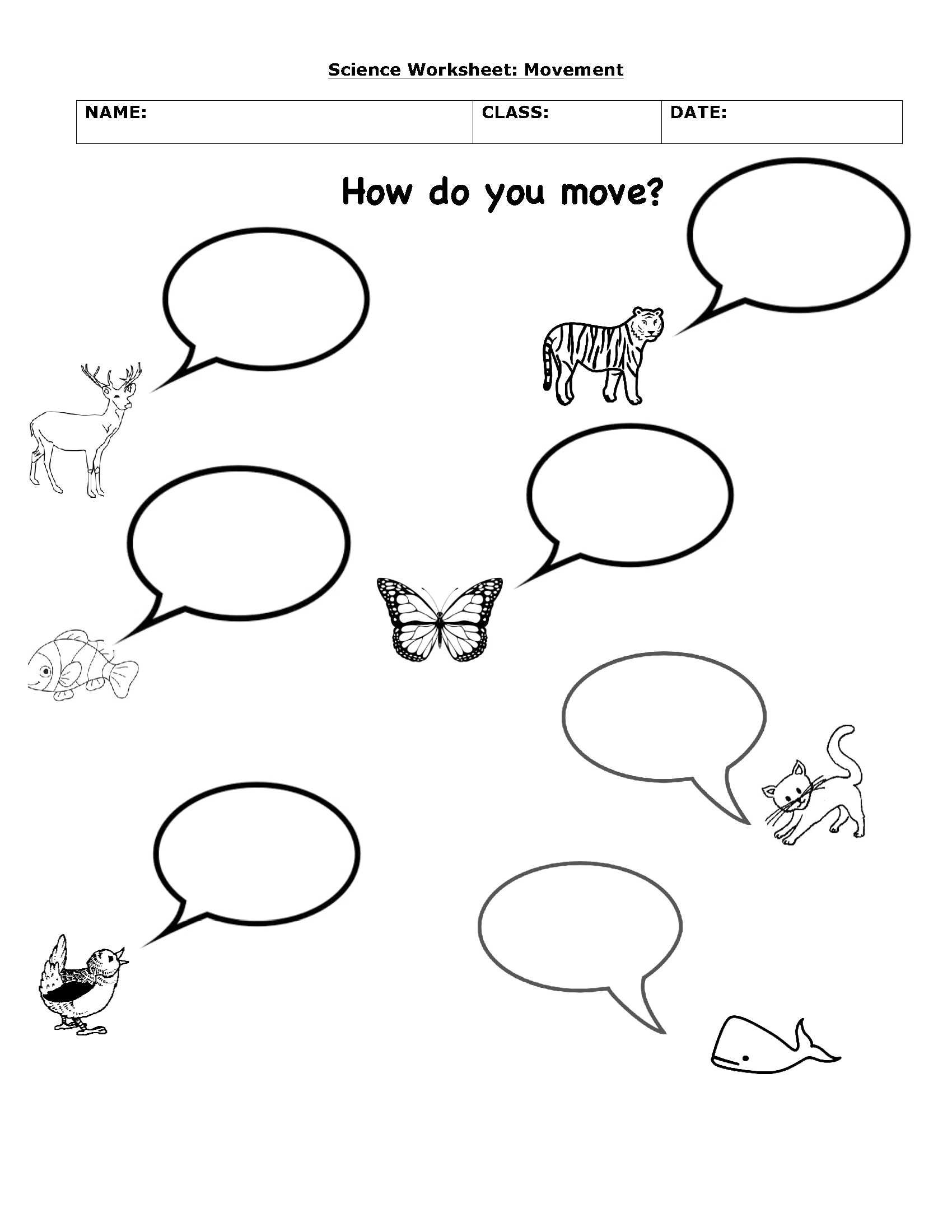 How animals move Science worksheets, Kindergarten