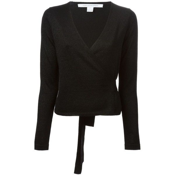 Diane Von Furstenberg 'Ballerina' wrap sweater (€225) ❤ liked on Polyvore featuring tops, sweaters, black, jackets, diane von furstenberg sweaters, wrap sweater, wrap top, ballet wrap sweater and diane von furstenberg