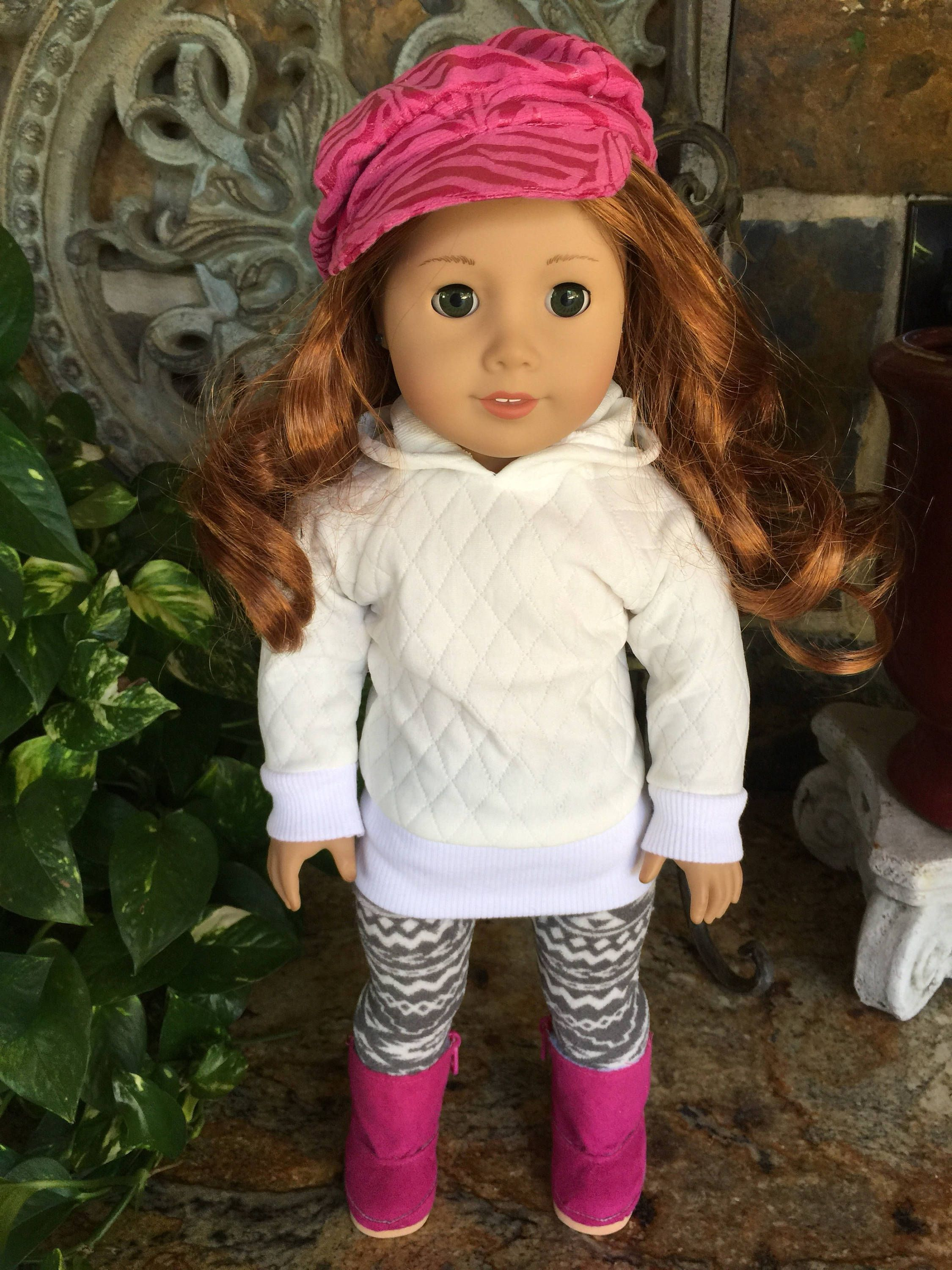 07d29027407a8 18 inch handmade doll clothes designed to fit the American girl doll-quilte  off white tunic top-striped grey and white leggings by lollipaisley on Etsy