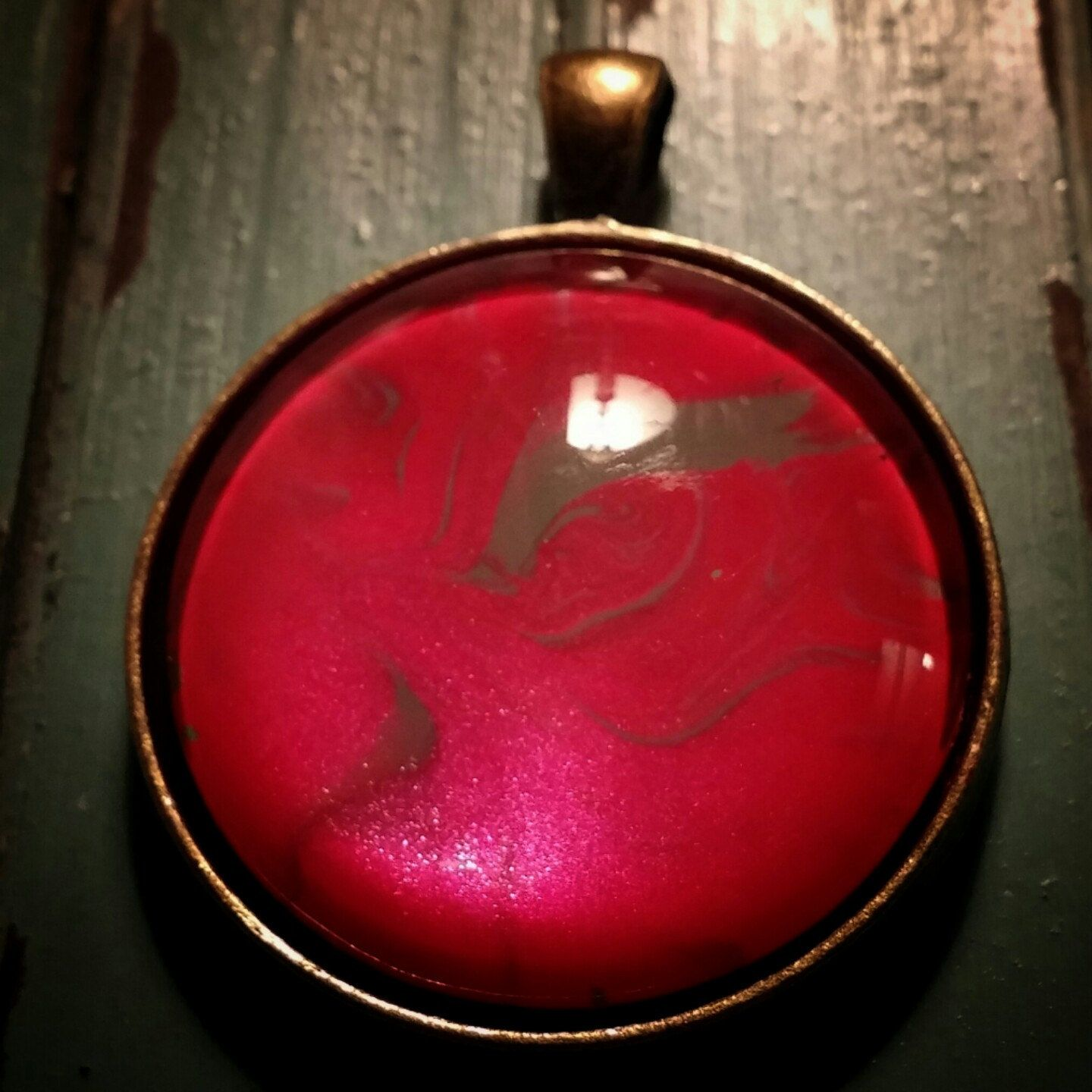 Metallic red and grey pendant