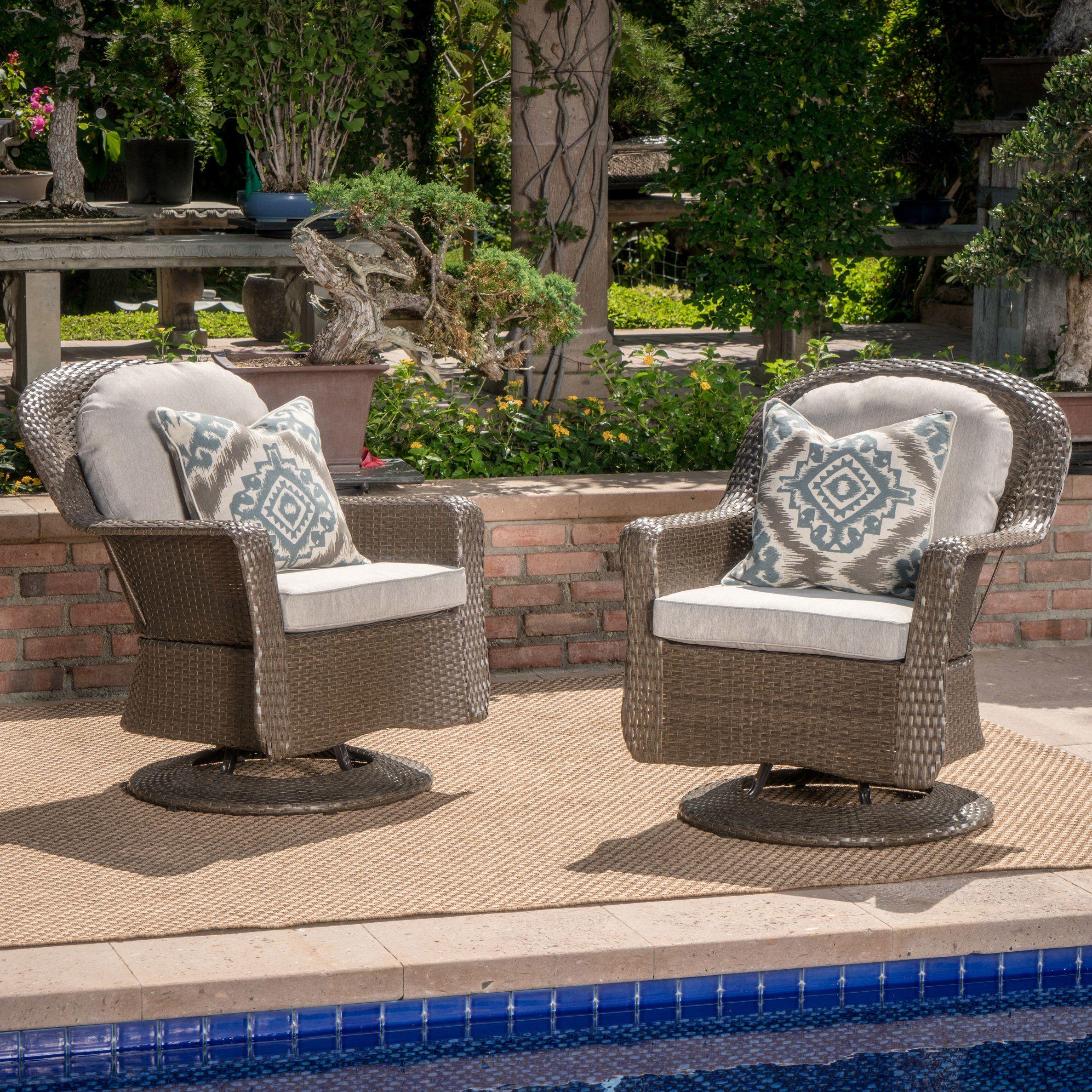 Dearing Modern Outdoor Wicker Swivel Club Patio Chair With