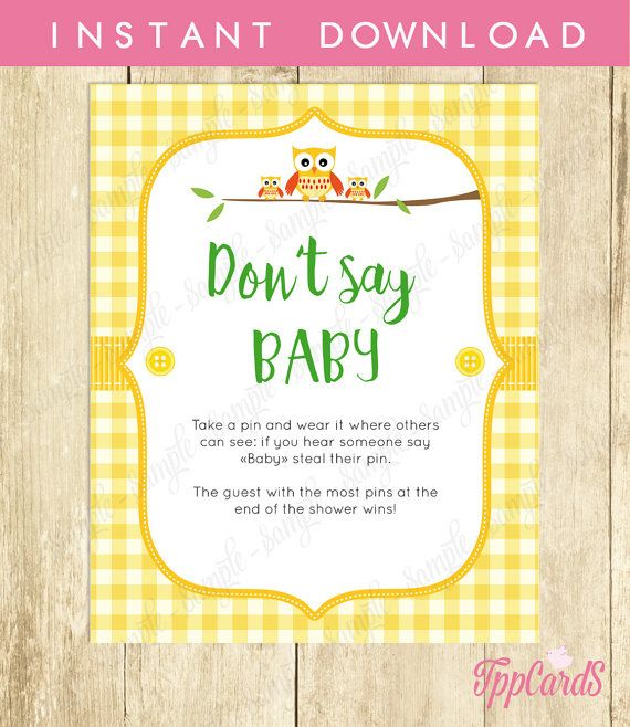 Donu0027t Say Baby Game, Baby Shower Games, Printable Owl Baby Shower Game,  Donu0027t Say Baby Sign, Diaper Pins Clothes Pin Game, Yellow 0029 Y