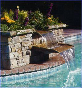 Simple Water Feature Into Pool Backyard Pool Landscaping Pool