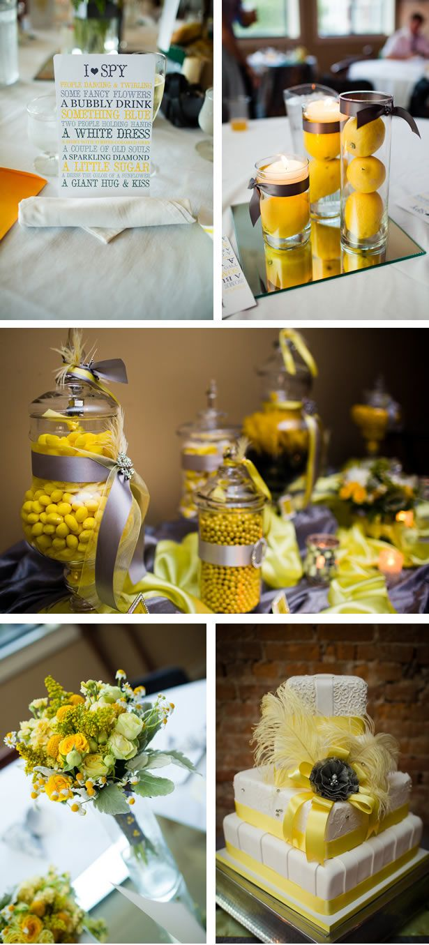 Wedding decorations yellow and gray  Lively Whimsical Yellow and Gray Wedding in Indiana  WeddingWire