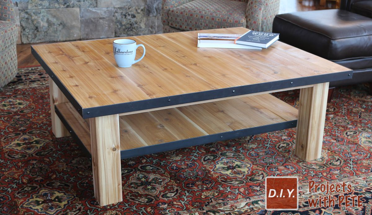 How To Make A Wood Coffee Table With Steel Accents Coffee Table Wood Diy Coffee Table Coffee Table [ 695 x 1200 Pixel ]