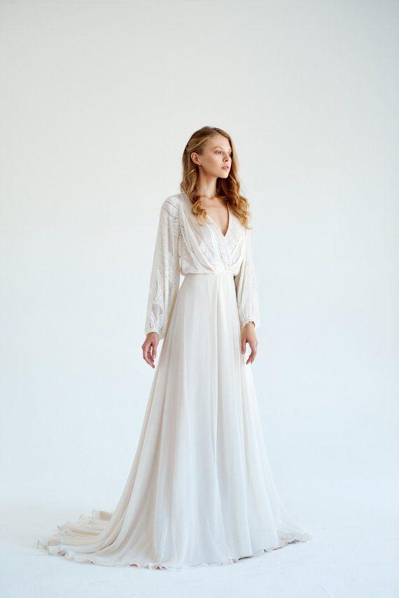 Silk wedding dress// March / Boho wedding gown, ivory bridal gown, bohemian wedding, long sleeve wedding dress, simple bridal dress, V-neck