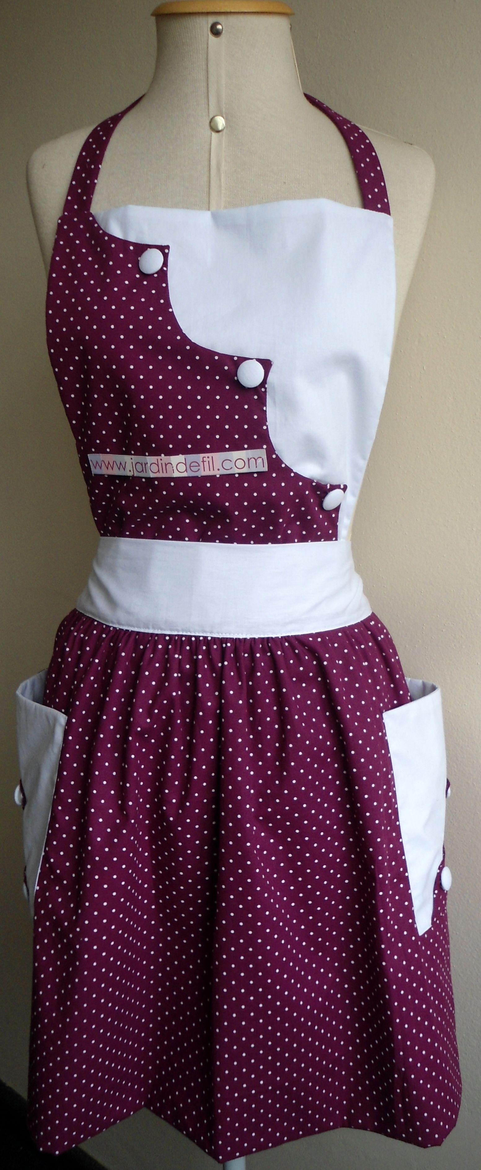 White waist apron ruffle - Avental Vintage Cuisinier Po