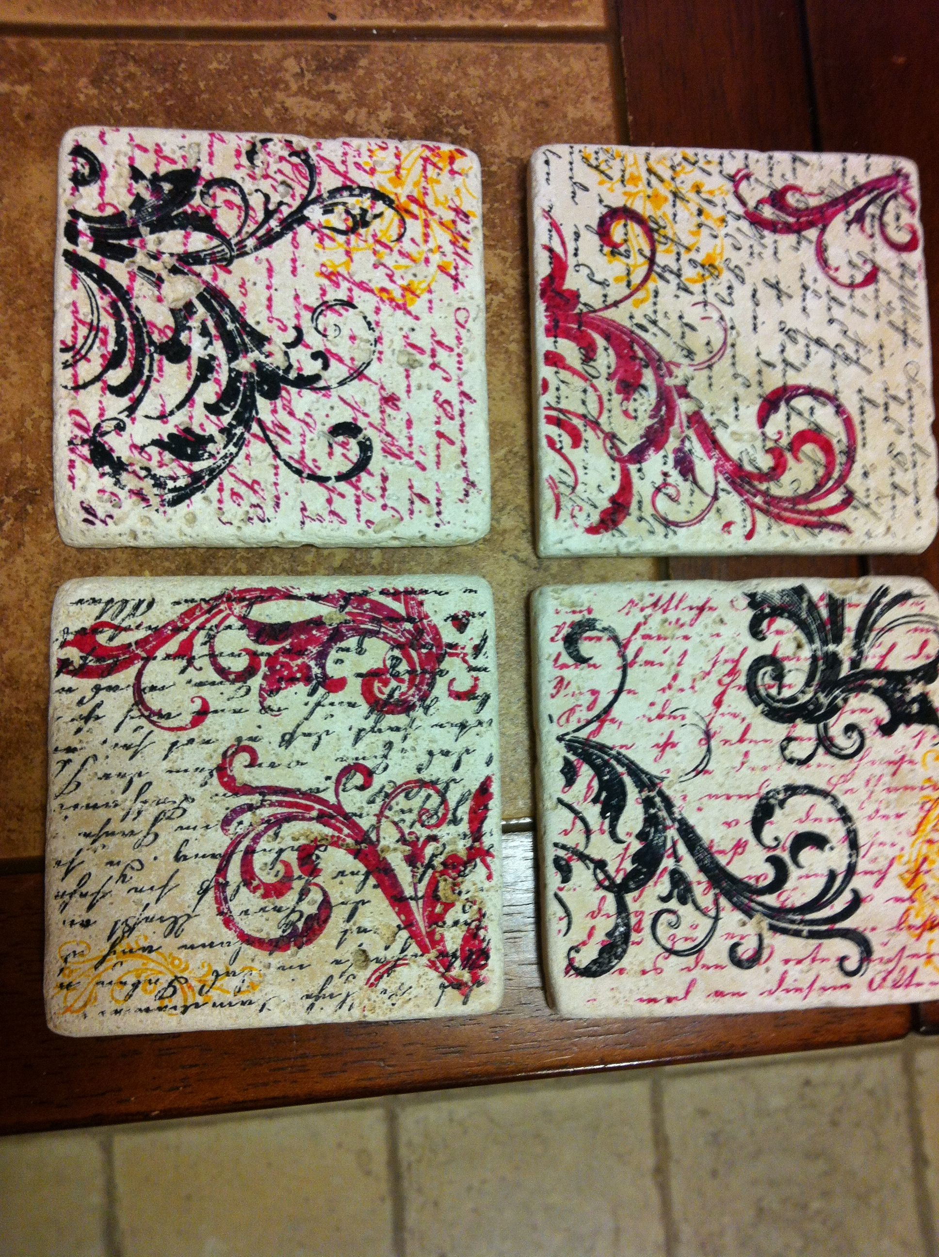 Hand Stamped Tile Coasters Made With Tumbled Tiles From Home Depot Stazon Ink Rubber Stamps And Felt For Bottom Super Easy