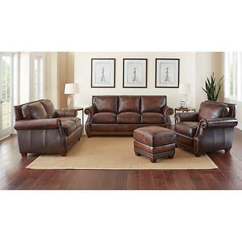 Cameron Park 4 Piece Top Grain Leather Set 100 Leatherbrownsofa