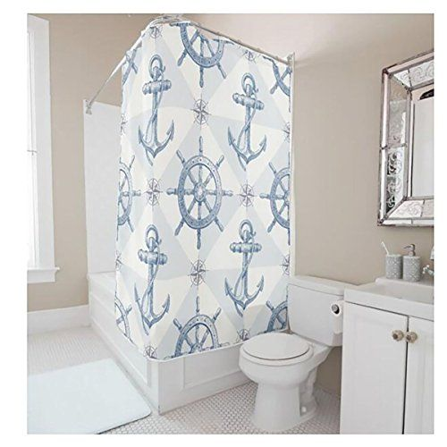 Nautical Anchor Sailing Ships Wheel Compass Patter Shower Curtain