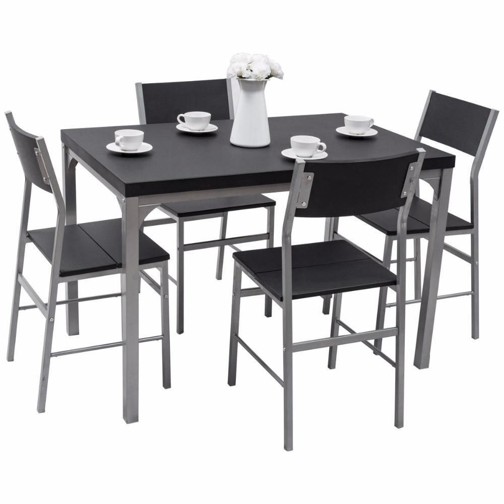 Best Spina 5 Piece Dining Set Dining Table Chairs Black 640 x 480