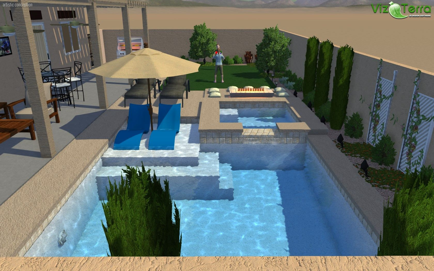 3d swimming pool design software. 3D Landscape And Pool Design. This Job Has Everything You Know Want In A Small Backyard. With Wet Deck Spa, Raised Fire Pit, Extended Patio Cover 3d Swimming Design Software
