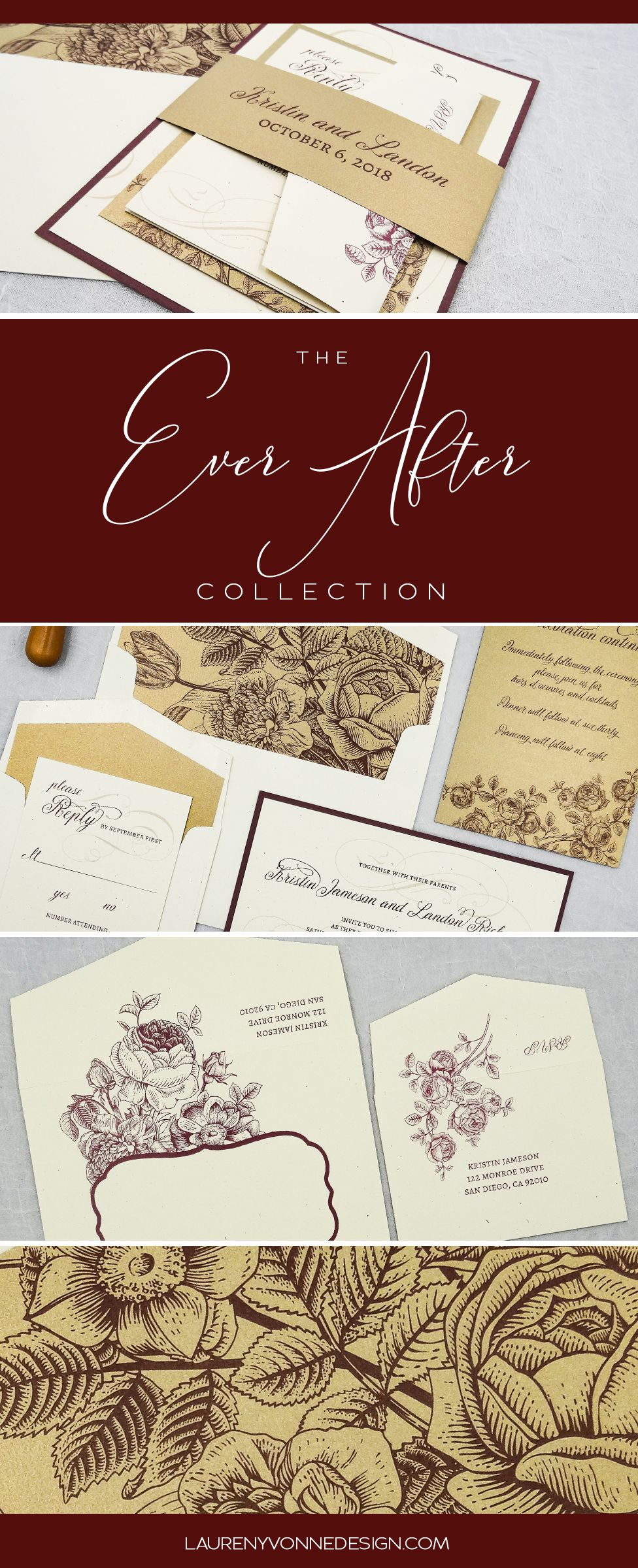 Burgundy and gold vintage floral wedding invitation suite. Classic ...