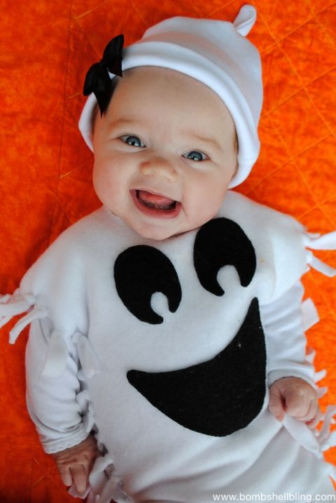 No Sew Ghost Poncho Costume-5 Ava Pinterest Costumes, Ghost - baby halloween costumes ideas