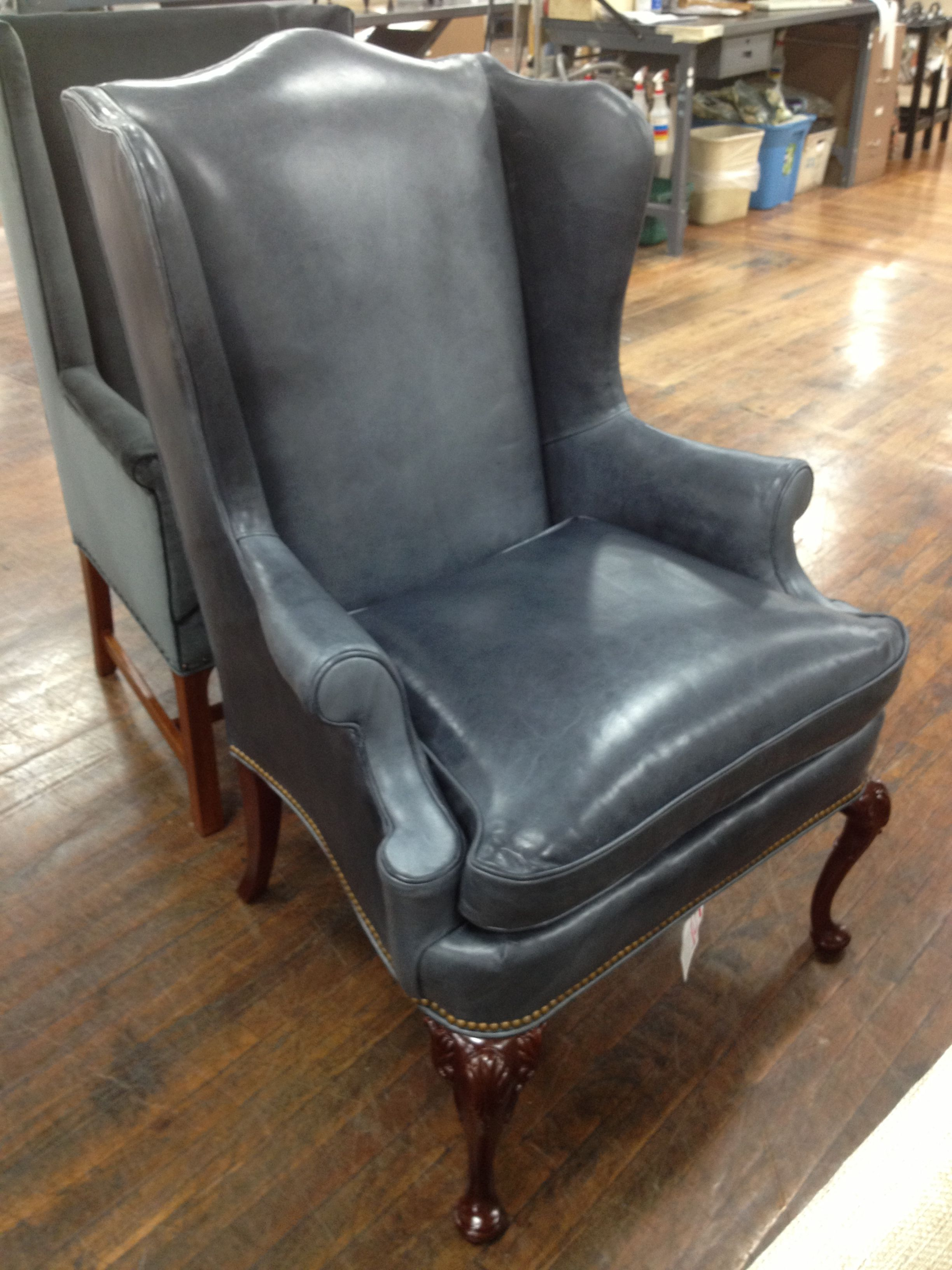 The Classic 1934 55 Queen Anne Wing Chair In Glazed Leather A