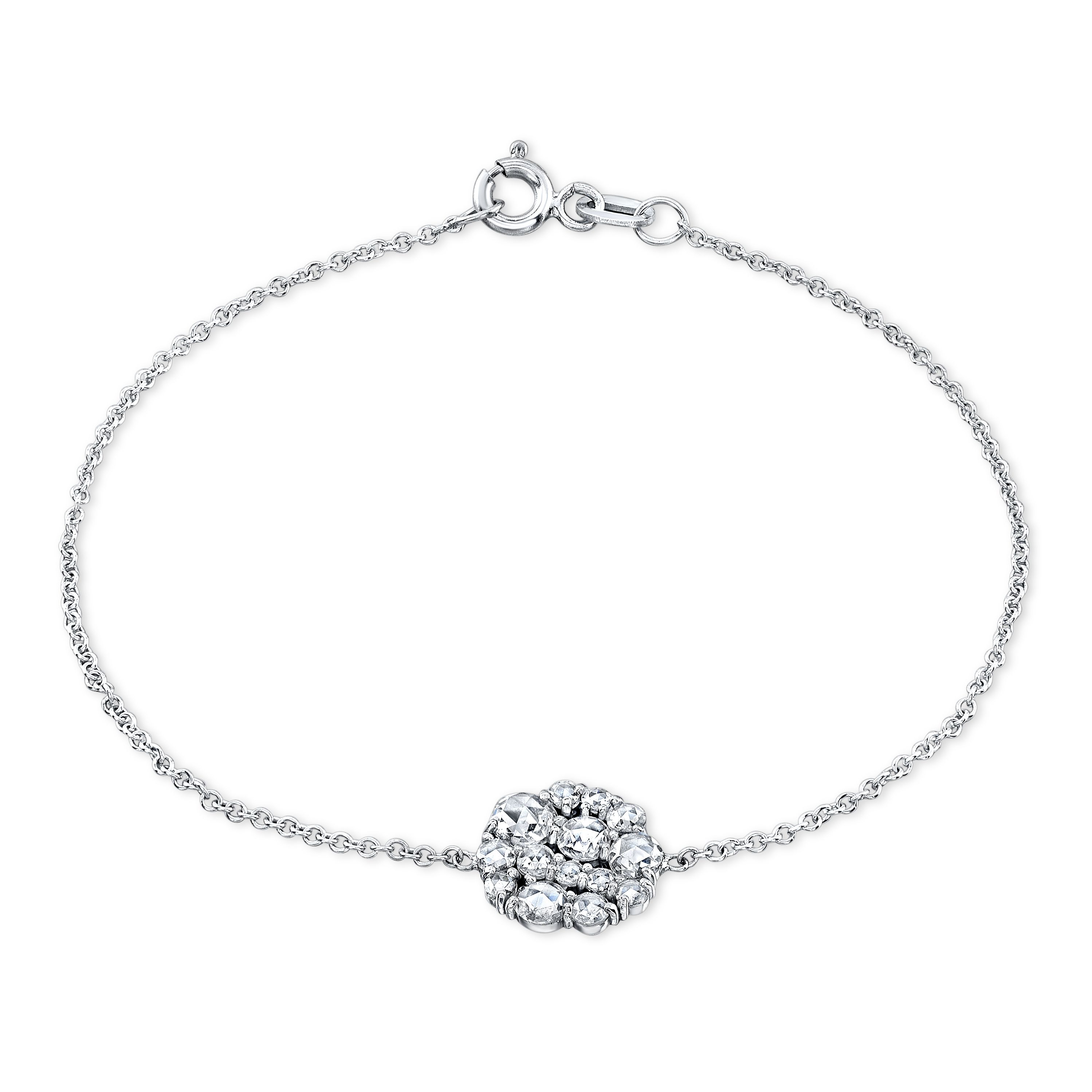 K white gold rose cut diamond cluster bracelet susan foster