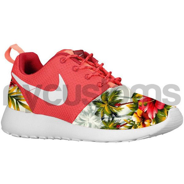 Nike Roshe Run Fusion Red Grey Island Floral Palm Tree Print V5... (260 AUD) ❤ liked on Polyvore featuring shoes