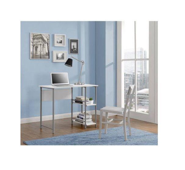 Student Desk White Metal Study Table Rectangle Large Surface Removable Bookshelf Student Desks Home Office Furniture Metal Office Desk
