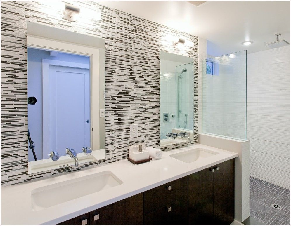 Bathroom Glass Backsplash | Thanks To Synthesis Design Inc At Http://www.
