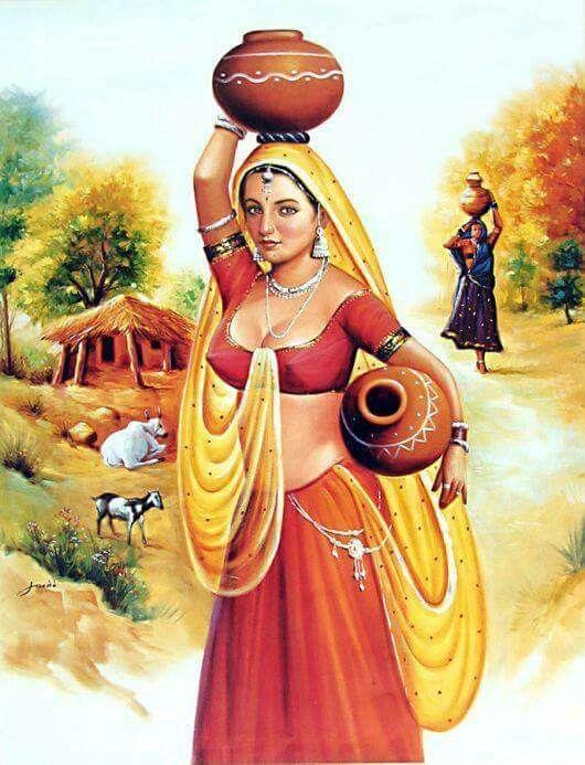 Paintings Depicting Indian Village Scenes !