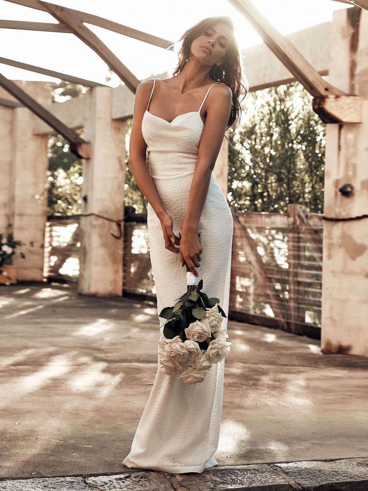 Sexy tiewrap white spaghetti strap long dresses in fasssshhh