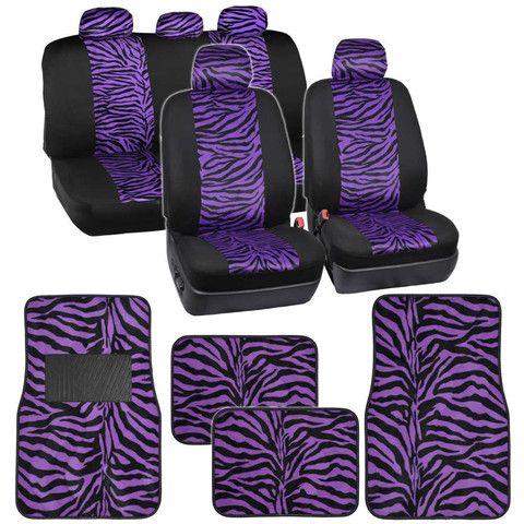 Velvet Animal Car Seat Covers Floor Mats Purple Zebra Accent On Black W Steering Wheel Cover Set