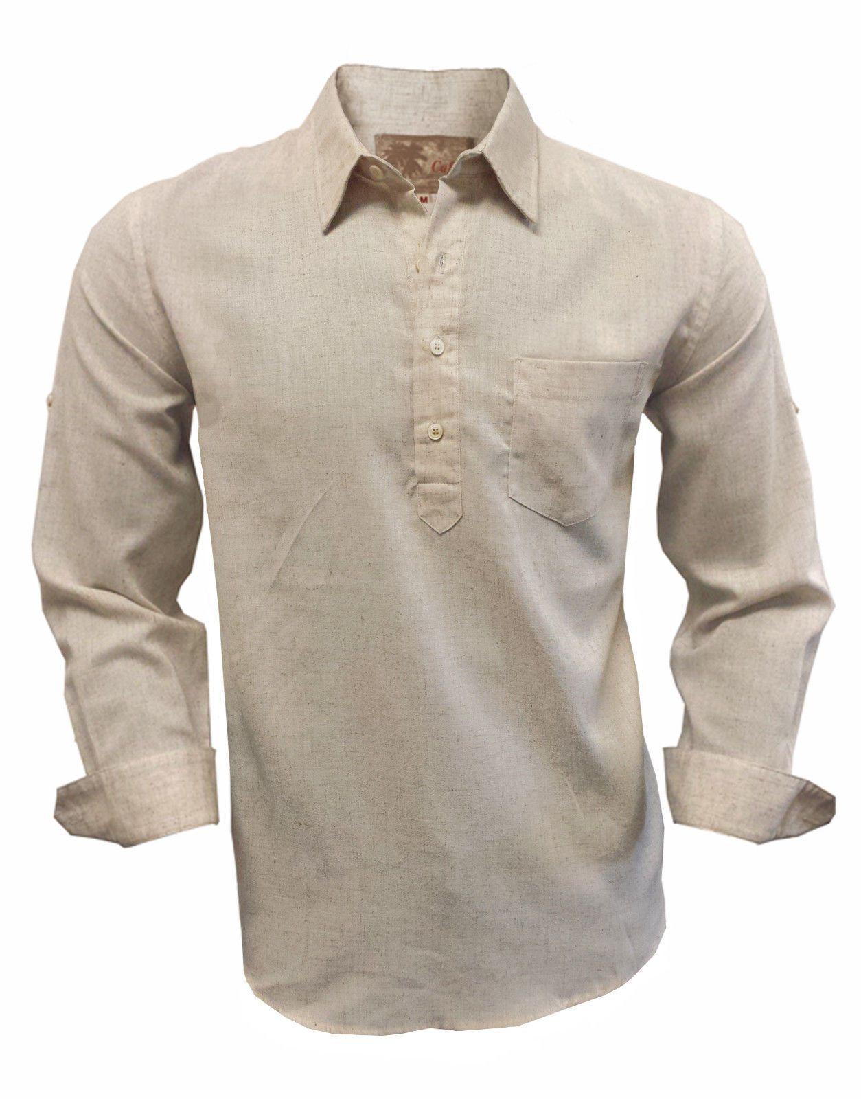 6ba962abc46 Mens Linen   Cotton High Quality Long Sleeve Half Placket Shirt ...