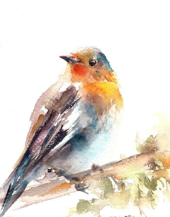 Robin Bird Fine Art Print Bird Watercolor Painting Art Bird Wall