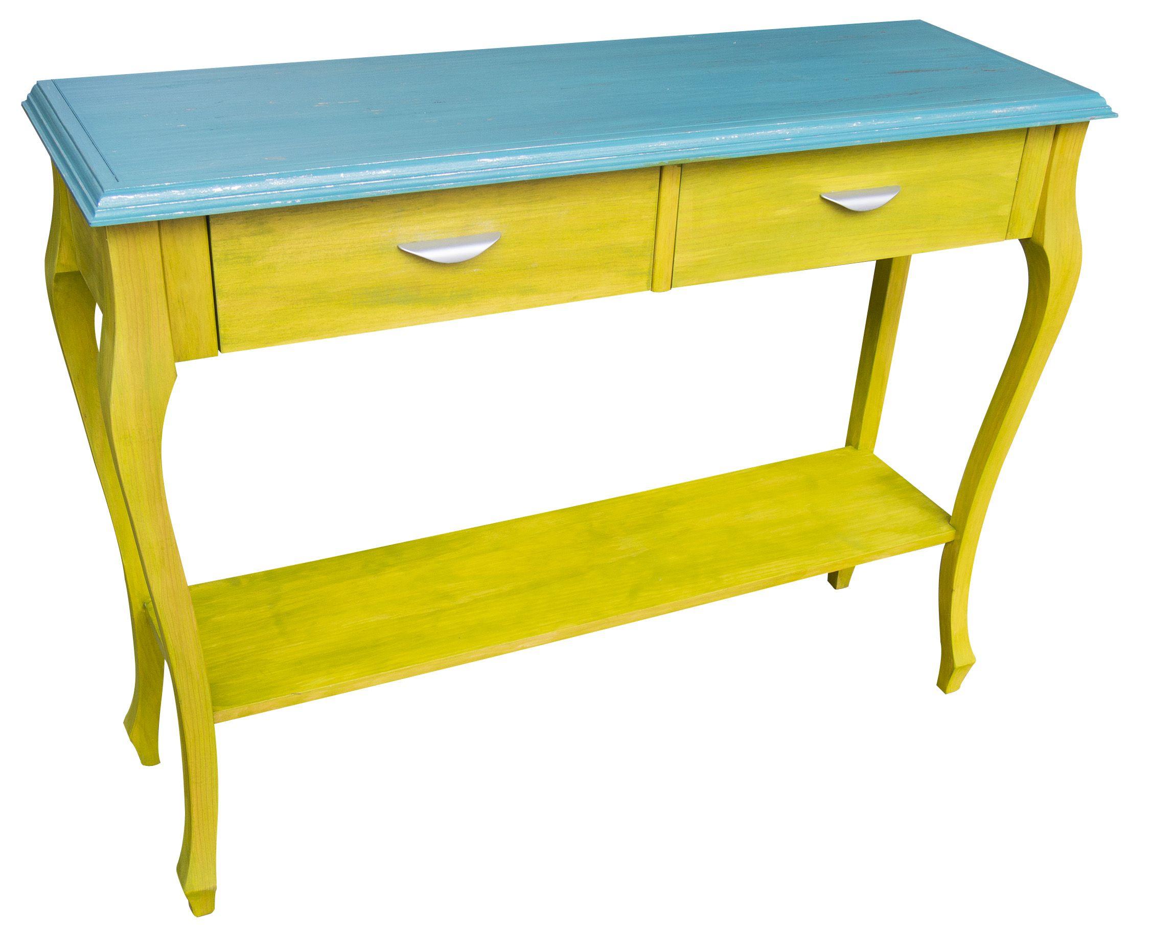 Consola Amarillo Verdoso Con Tapa Azul Turquesa Y Pan De Plata  # Muebles Vibbo Malaga