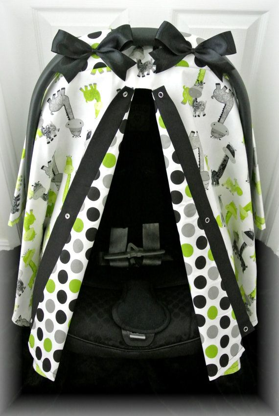 Car seat canopy, car seat cover, lime green, grey, polka dot ...