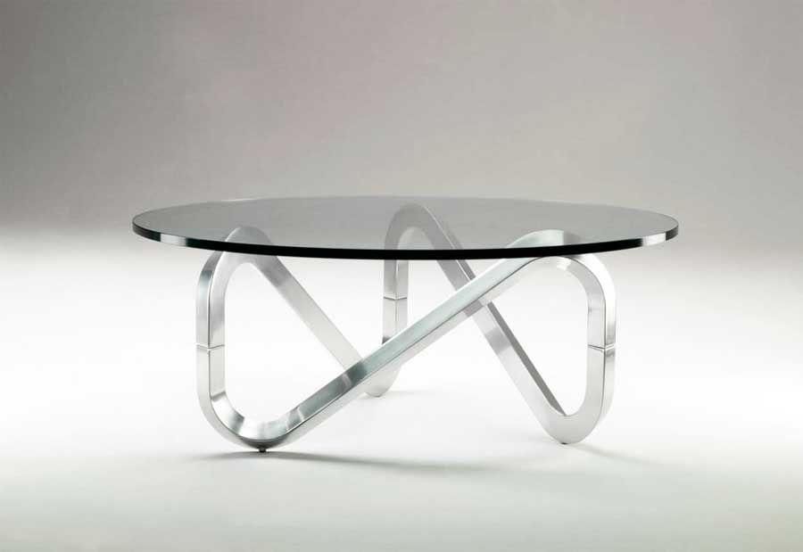 Couchtisch aus glas und metall mit der form runde im moderne design ...
